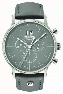 Bruno Sohnle Heren stuttgart chrono 42 mm grijs met lederen band 17-13177-841
