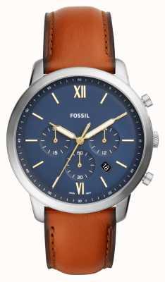 Fossil Heren neutra blauw chronograaf wijzerplaat bruin lederen bandhorloge FS5453
