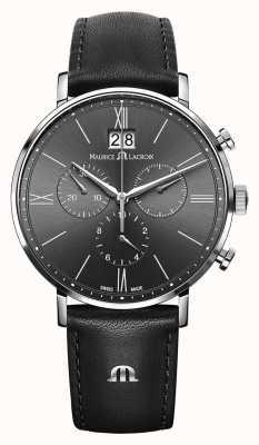 Maurice Lacroix Heren eliros chronograaf zwart lederen band grijze wijzerplaat EL1088-SS001-811-1