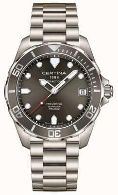Certina Mens ds actie precidrive grijze wijzerplaat titanium horloge C0324104408100