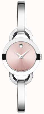 Movado Dames rondiro roestvrijstalen armband roze wijzerplaat 0606797
