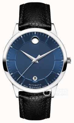 Movado Heren 1881 automatische blauwe wijzerplaat zwarte lederen band 0607020