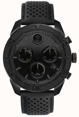 Movado Stoere zwarte chronograaf geperforeerde lederen band 3600517