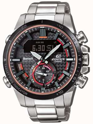 Casio Edifice bluetooth lap timer roestvrij staal rode accenten ECB-800DB-1AEF