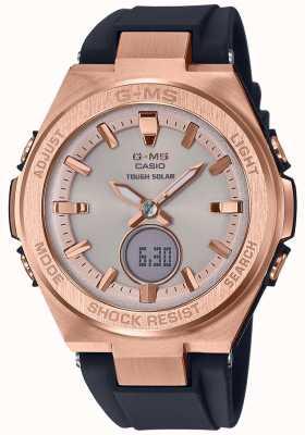 Casio G-ms baby-g rose goud stoere zwarte zonnebril band MSG-S200G-1AER