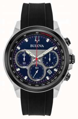 Bulova Heren chronograaf blauwe wijzerplaat zwarte rubberen band horloge 98B314