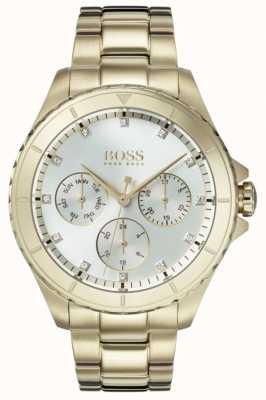 Boss Dames première vergulde armband zilverkleurige wijzerplaat 1502445