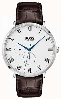 Hugo Boss Heren william classic bruin lederen witte wijzerplaat 1513617