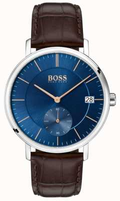 Boss Bruin lederen band van echt leer blauwe wijzerplaat 1513639