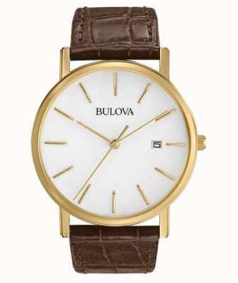 Bulova Klassiek bruin lederen herenhorloge 97B100