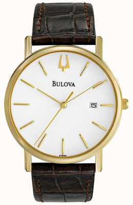 Bulova Heren klassiek bruin lederen horloge 97B100