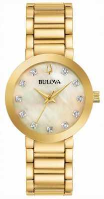 Bulova Goud geplateerd kristal gezet dameshorloge 97P133