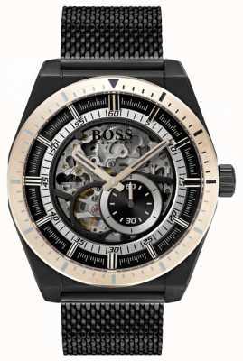 Hugo Boss Heren handtekening automatisch skelet zwart geplateerd 1513655