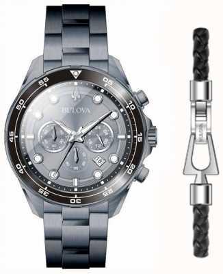 Bulova Zwart pvd vergulde horloge- en armbandgeschenkset 98K104