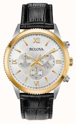 Bulova Dames zwart lederen chronograaf horloge 98A218