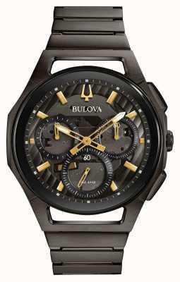 Bulova Heren curv gunmetal pvd plated horloge 98A206