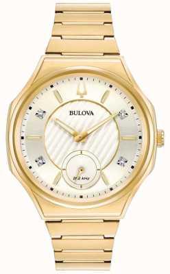 Bulova | curv | vrouwen | gouden toonarmband 97P136