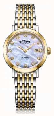 Rotary Dameshorloge met windsor diamanten horloge met tweekleurige armband LB05301/41/D
