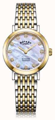 Rotary Dameshorloge met tweekleurige dameshorloge met diamant en diamanten armband LB05301/41/D