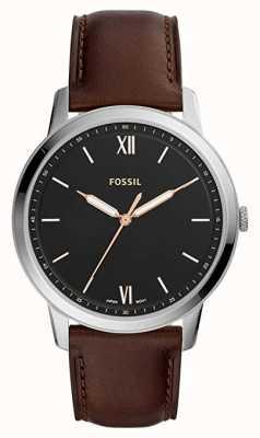 Fossil Mens de minimalistische zwarte wijzerplaat lederen band FS5464