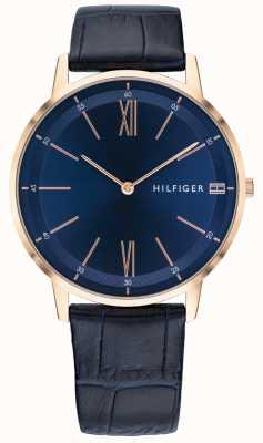Tommy Hilfiger Heren cooper horloge blauw lederen band rosé goudkleurig etui 1791515