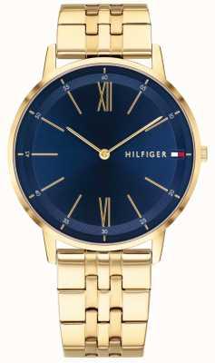 Tommy Hilfiger Mens cooper horloge gouden toon armband blauwe wijzerplaat 1791513