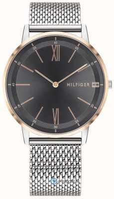 Tommy Hilfiger Heren cooper horloge roestvrij stalen mesh armband zwarte wijzerplaat 1791512