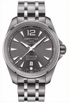 Certina Mens ds actie horloge grijze wijzerplaat titanium armband C0328514408700