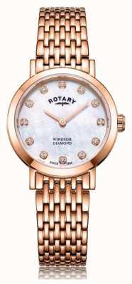 Rotary Dames windsor diamanten roségouden armbandhorloge LB05304/41/D