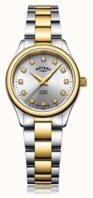 Rotary Dames oxford dames diamant tweekleurig armbandhorloge LB05093/44/D