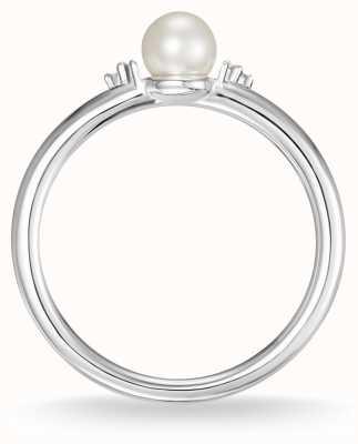 Thomas Sabo Sterling zilveren parel en witte diamanten ring maat 54 D_TR0039-765-14-54