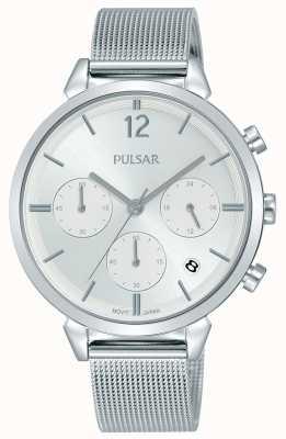 Pulsar Dames roestvrijstalen kast met zilveren chronograaf wijzerplaat PT3943X1
