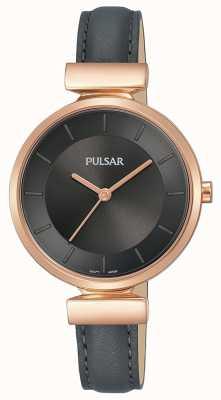 Pulsar Dames rosé vergulde kast in donkergrijs leer PH8420X1