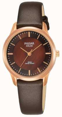 Pulsar Dames rosé vergulde kast bruin lederen band bruine wijzerplaat PY5044X1