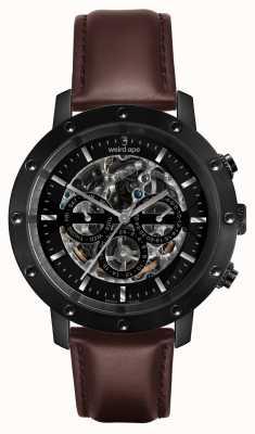 Weird Ape Icarus 3 dial alle zwart / bruin lederen band WA02-005702