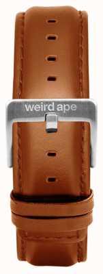 Weird Ape Tan lederen 20mm riem zilveren gesp ST01-000100