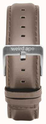 Weird Ape Hazelnoot lederen 20mm riem zilveren gesp ST01-000101