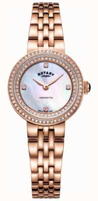 Rotary Kensington kristal rose gouden armbandhorloge voor Dames LB05374/41