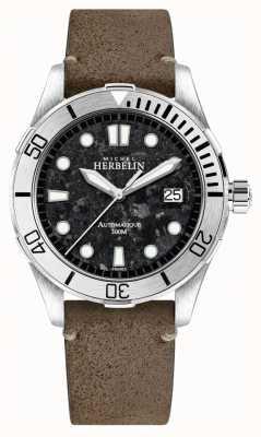 Michel Herbelin Heren newport trophy horloge zwarte wijzerplaat bruine lederen band 1660/22TER