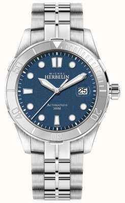 Michel Herbelin Heren newport trofee zilveren armband blauwe wijzerplaat 1660/15B