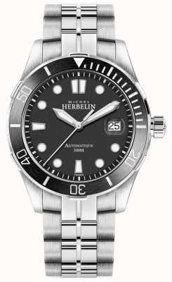 Michel Herbelin Heren newport trofee zilveren armband zwarte wijzerplaat 1660/N14B