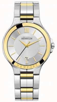 Michel Herbelin Heren newport royale two tone zilveren en gouden armband 12298/BT11