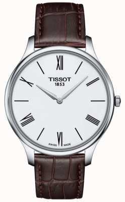 Tissot Herenhorloge, dun bruin lederen bandhorloge T0634091601800