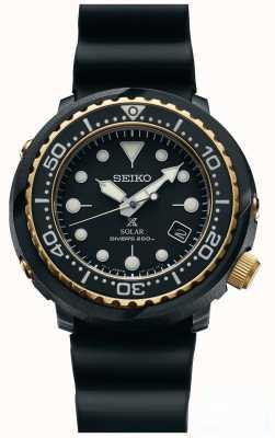 Seiko Mens tonijn zwart en goud solar prospex duikershorloge SNE498P1