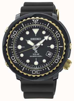 Seiko Zwart en goud tonijn duikershorloge voor heren SNE498P1