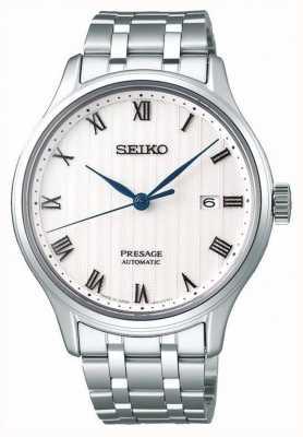 Seiko Presage heren automatische witte wijzerplaat roestvrij stalen armband SRPC79J1