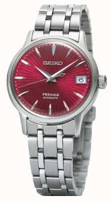 Seiko Presage automatisch dameshorloge met rode wijzerplaat van roestvrij staal SRP853J1