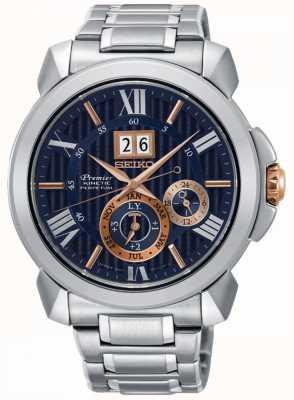 Seiko Premier kinetisch herenhorloge blauw wijzerplaat roestvrij staal SNP153P1