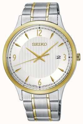 Seiko Tweekleurig herenhorloge met klassieke witte wijzerplaat SGEH82P1