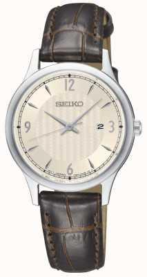 Seiko Dames klassiek patroon creme wijzerplaat bruin lederen band horloge SXDG95P1